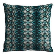 This glamorous square cushion features small-scale repeating gemstones, set in a geometric style. It is printed on pure cotton velvet and finished with a branded 'Matthew Williamson' label. Cotton Velvet, Matthew Williamson, Jade, Cushions, Glamour, Gemstones, Womens Fashion, Prints, Interiors
