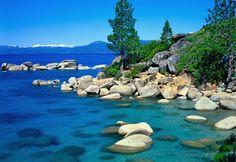 Rocky shoreline, Lake Tahoe, Calif. (© Dennis Hallinan/Alamy)