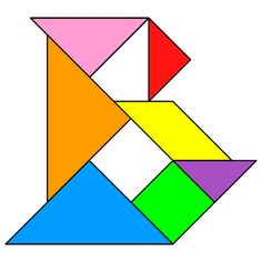 Tangram Letter B - Tangram solution #96 - Providing teachers and pupils with tangram puzzle activities