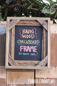 Rustic 8x10 handmade rope barnwood chalkboard frame - perfect for shopping lists, weddings, to-do lists, message boards and more!