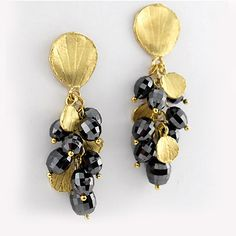 Barbara Heinrich at Patina Gallery. Earrings, Black diamond facetted briolette cluster drop earrings, 16.62 cttw, accented with 18k yellow gold hydrangea petal charms and tops.