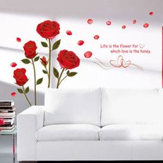Red Rose DIY Home Art Wall Decal Decor Room Sticker Vinyl Removable Paper