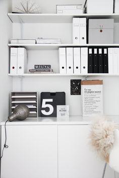 white // black organized office