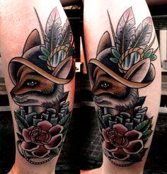 By pirate pialla from Italia (www.piratepialla.com) Bad Tattoos, Great Tattoos, Pirate Tattoo, Fox Tattoo, Body Mods, Color Tattoo, Ink Art, Traditional Tattoo, Tattoo Inspiration