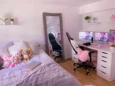 Gamer Bedroom, Bedroom Setup, Room Ideas Bedroom, Gaming Room Setup, Gamer Setup, Pc Setup, Pastel Room, Cute Room Ideas, Kawaii Room