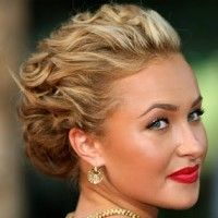 Fancy updo.  Curled from the forehead and pulled back in sections.