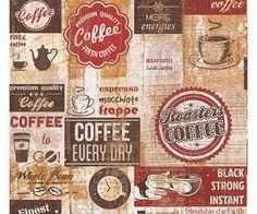 Carta da parati cucina Caffè Vintage red