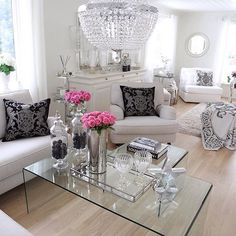 red and silver room design - Bing images Home Living Room, Apartment Living, Living Room Designs, Living Room Decor, Elegant Homes, Living Room Inspiration, Decor Interior Design, House Design, House Styles