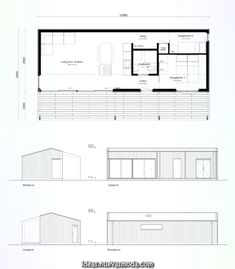 Container Home Designs, Small House Plans, House Floor Plans, Bar Design, House Design, Espace Design, Architectural Floor Plans, Long House, Narrow House