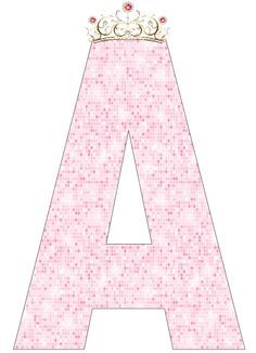 Pink Alphabet with Crown. Scrapbook Letters, Alphabet And Numbers, Letter Art, Letter Fonts, Cute Wallpapers, Girl Birthday, Iphone Wallpaper, Aurora Sleeping Beauty, Clip Art
