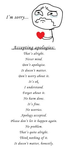 Accepting apologies