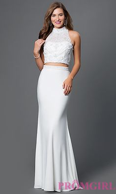 Two Piece High Neck White Dress by Blush at PromGirl.com