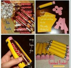 How to make Rolo or Candy Pencils, DIY Back to School gifts and treats. Sounds good for back to school treats. Rolo Pencils, Diy Pencils, Back To School Party, School Parties, School Kids, Back To School Gifts For Kids, Back To School Crafts, Diy School, Middle School