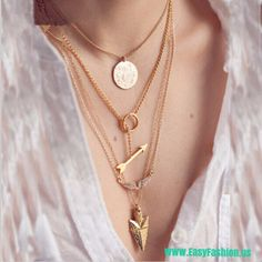 4 layer arrow necklace