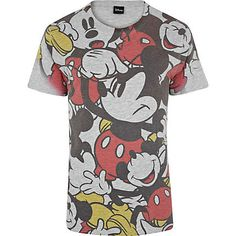 Grey Mickey Mouse print t-shirt - print t-shirts - t-shirts / vests - men