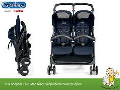 Jednostavna, lagana i praktična kolica za dvoje djece u tamno plavoj boji Peg Perego, Twins, Bebe, Gemini, Twin
