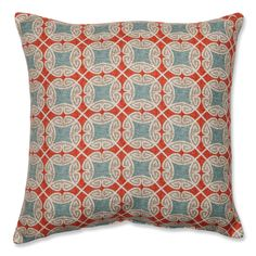 Spice up your home decor with a colorful Pillow Perfect accent pillow. Featuring an artistic bold red, white and blue ferrow design, this pillow is a perfect way to add a pop of color to any bedroom or living room decor.