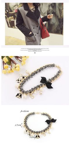Physical Black Multielement Decorated Design Alloy Fashion Necklaces http://www.asujewelry.com