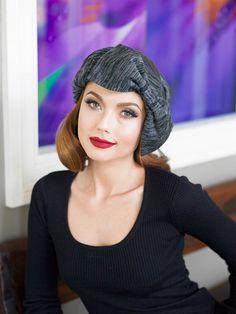 Borderline Hat Knit Bow