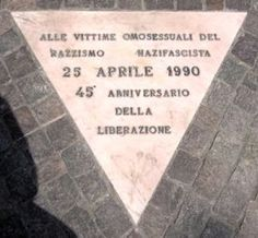Pink Triangle Memorial in Bologna, Italy, in memory of all the homosexual victims of Nazi-Fascism.  It is located in the Gardens of Villa Cassarini.