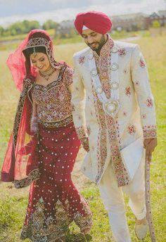 dulhan indian pakistani bollywood bride desi wedding dulha groom sikh punjabi Indian Wedding Couple, Sikh Wedding, Punjabi Wedding, Indian Bridal, Wedding Dresses, Indian Weddings, Marriage Poses, Pakistan Bride, Groom Wear