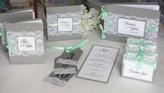 Grey & mint lace wedding invitations, guest book, escort cards, menu and table numbers from always, by amber!
