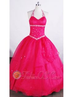 Simple Ball Gown Halter Neckline Floor-length Flower Girl Pageant Dress With Beaded Decorate- $149.99   in hyères |