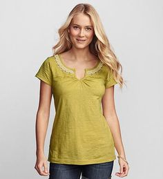 Embroidered Split-Neck T-Shirt  $45