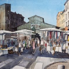 The clothes market in Antibes in full swing. #Watercolour #Antibes #urbansketchers