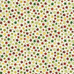 Tissu Etoiles de Noël Multicolores - .