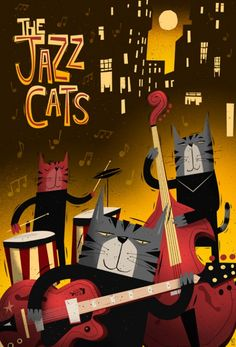 Mid-century Modern illustration 'Jazz Gatuno' by Peter Donnelly Jazz Poster, Retro Poster, Poster Art, Vintage Posters, Art And Illustration, Musik Illustration, Cat Illustrations, Jazz Cat, Image Chat