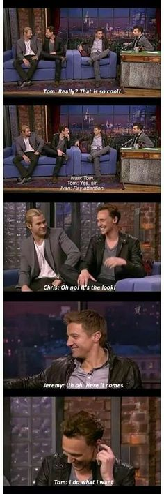 "Tom Hiddleston ""Does what he wants"" with Jeremy Renner and Chris Hemsworth"