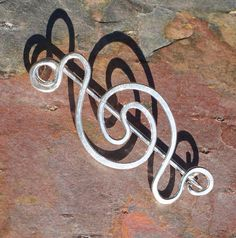 Sterling Silver Shawl Pin Fibula Brooch with Celtic Spiral