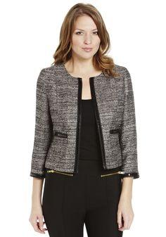Clothing at Tesco | F Limited Edition Boucle Collarless Jacket > jackets > Coats & Jackets > women