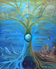 Tree of Life Art :: Yggdrasil was the life force of the Norse world. They believed that all life was sustained by the tree. Tree Of Life Images, Tree Of Life Art, Tree Art, Fantasy Landscape, Fantasy Art, Norse Vikings, Asatru, Norse Mythology, Gods And Goddesses