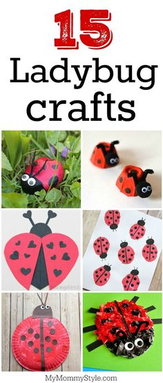 15 ladybug crafts for preschoolers. Perfect for a bug or ladybug theme at preschool or to go along with Eric Carle's Grouchy Ladybug. Grouchy Ladybug, Ladybug Art, Ladybug Crafts, Recycled Art Projects, Cool Art Projects, Projects For Kids, Recycled Materials, Recycled Crafts, Fun Crafts To Do