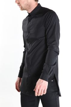 scalloped button up shirt - black by machus