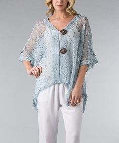 This Light Blue Mesh Sidetail Cardigan - Plus by Vasna is perfect! #zulilyfinds
