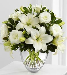 The FTD® White Elegance™ Bouquet by Vera Wang - VASE INCLUDED- Deluxe