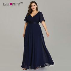 77e7a76f8673 Plus Size Evening Dresses Ever Pretty Elegant V-Neck Ruffles Chiffon Formal  Evening Gown Party Dress Robe De Soiree 2019 - Daily Buy Tips