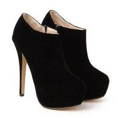 $16.77 Stylish Women's Ankle Boots With Black Suede and Sexy High Heel Design. TOO CUTE