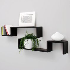 "Kiera Grace Sila ""S"" 21"" Wall Shelves, Black, Set of 2"