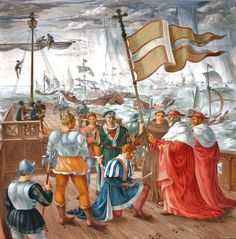 Battle of Lepanto in 1571, Don Juan of Austria and cardinals. Fresco in Ain Karim, Israel at the Franciscan church of the Visitation