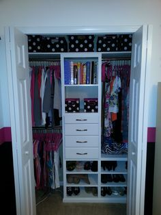 Teen Closet, get organized in style! Free step by step DIY plans from Ana-White.com #Plan