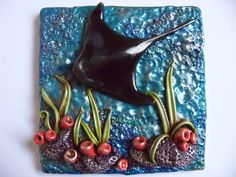 """square polymer clay tile """"Ocean Collection"""" (white ceramic tile underlay) created by ShooShoo Jewelry Fimo Clay, Polymer Clay Projects, Handmade Polymer Clay, Polymer Clay Jewelry, Sculpture Projects, Ceramics Projects, Polymer Journal, Ocean Crafts, Play Clay"""