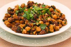 Kalyn's Kitchen®: Spicy Sauteed Chickpeas (Garbanzo Beans) Recipe with Beef and Cilantro
