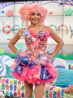 Bethenny Frankel dresses up in a candy dress