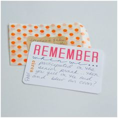 """Fantastic idea! """"Remember When We..."""" cards to mail to friends OR (what I'm thinking) record key moments from a vacation or big event as it's happening (while they're still fresh), so you can look back on them later. Post includes free printable."""