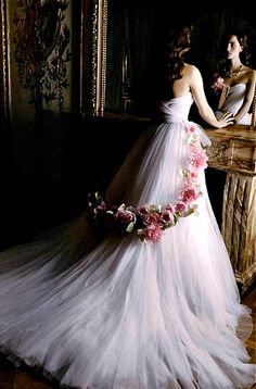 Dior, white gown with flowers #amazing #wedding #dresses #speechless #gown #embroderies #tulle #lace #bride