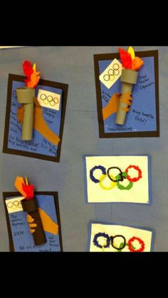 Grade students are excited about the Olympic Games. First, the students trac… Grade students are excited about the Olympic Games. First, the students traced their hand/arm and glued it to blu… Kids Olympics, Summer Olympics, Special Olympics, Kids Crafts, Olympic Idea, Olympic Games For Kids, Theme Sport, Olympic Crafts, 2nd Grade Art